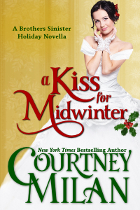 cover for a kiss for midwinter, a holiday novella in the Brothers Sinister series