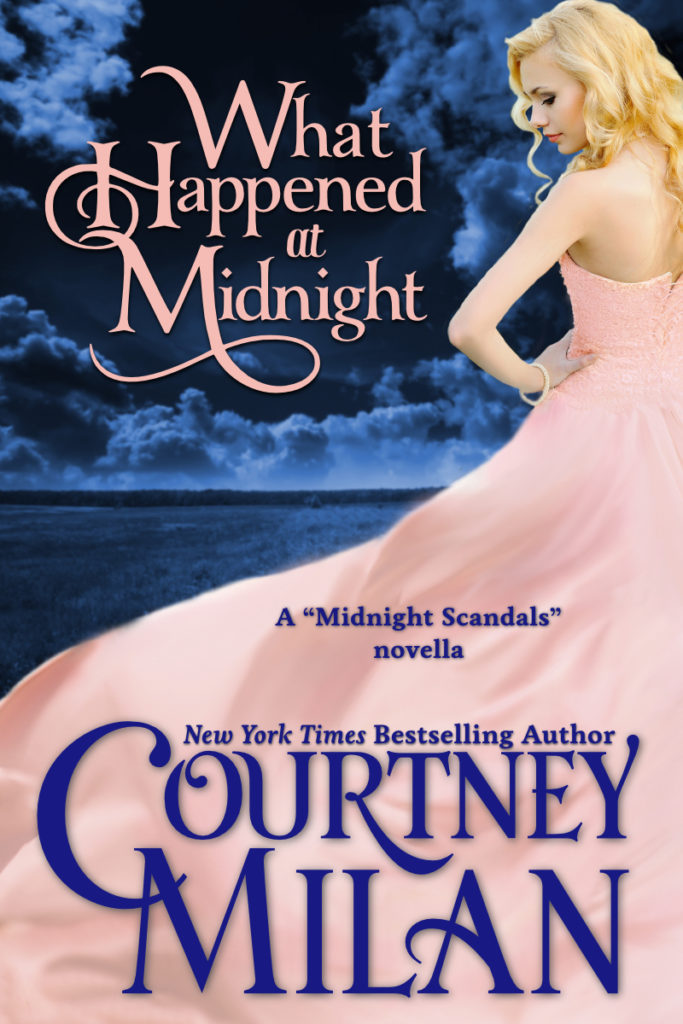 Cover for What Happened at Midnight by Courtney Milan: a woman in a light pink dress against a night sky.