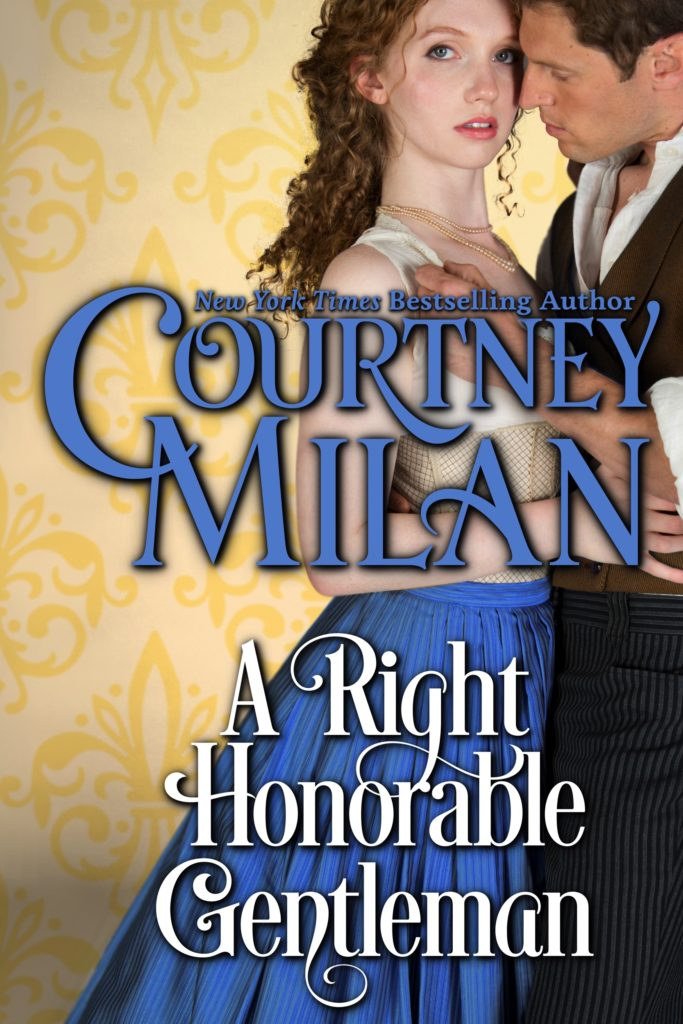 Cover for A Right Honorable Gentleman by Courtney Milan: A white woman in a blue dress looks at the viewer, while a while man embraces her