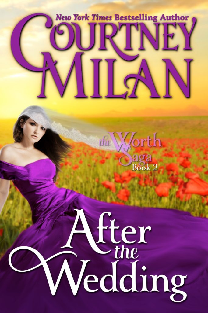 Cover for After the Wedding: a white woman in a purple gown in a field of red flowers