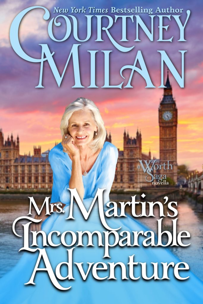 Cover for Mrs. Martin's Incomparable Adventure: An older white woman in a light blue gown in front of Parliament