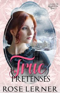 Cover of True Pretenses by Rose Lerner: a white woman with red hair and a snowy town in the background