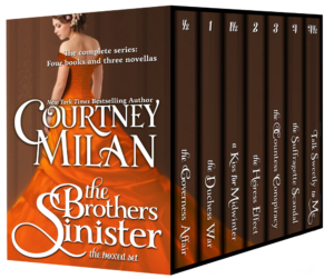 3d boxed set for the Brothers Sinister series: a woman wearing an orange dress