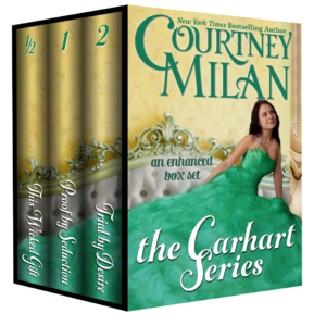 3d boxed set of courtney milan's the Carhart series; cover image is a white woman in a green dress on a sofa.