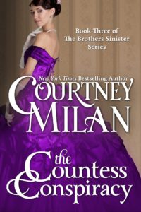 Cover of The Countess Conspiracy by Courtney Milan: a white woman in purple dress touching her chin thoughtfully