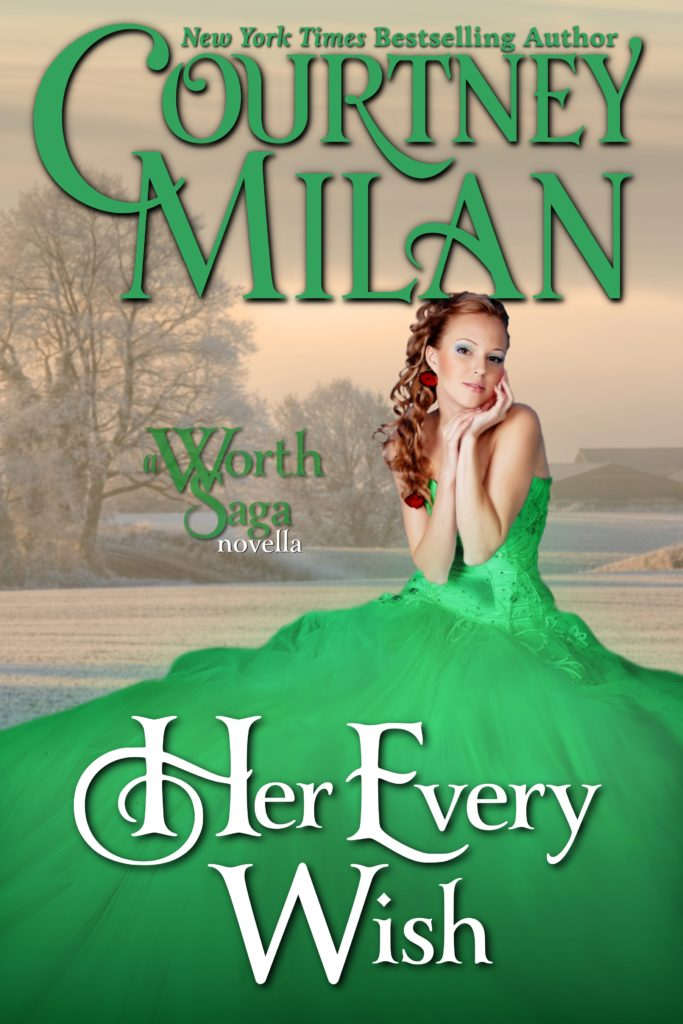 Cover for Her Every Wish: A woman in a green dress sitting in front of a snowy field