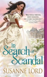Cover of Susanne Lord's In Search of Scandal: white woman in white dress looking over her shoulder