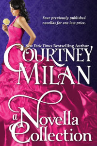 Cover for A Novella Collection: A dark haired white woman looking at a flower in a fuchsia gown