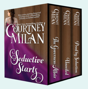 Image for Seductive Starts by Courtney Milan: a white woman in a royal purple dress with lace detail; her back is turned. This is a box set with three books: The Governess Affair, Unveiled, and Proof by Seduction.