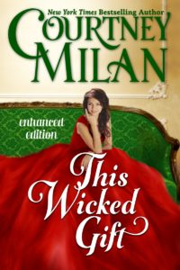 Cover for This Wicked Gift by Courtney Milan: A white woman in a red dress sitting on a green sofa.