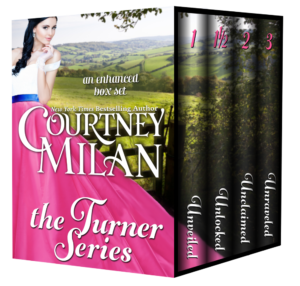 A 3d box set of books: The Turner Series, by Courtney Milan, with 4 separate books. Cover is a white woman with pink skirt