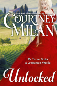 Cover for Unlocked by Courtney Milan: A blonde white woman in a red dress looking at a key