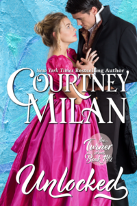 Cover for unlocked by Courtney Milan: a white couple with a woman in a pink dress and a man in a dark suit looking at her