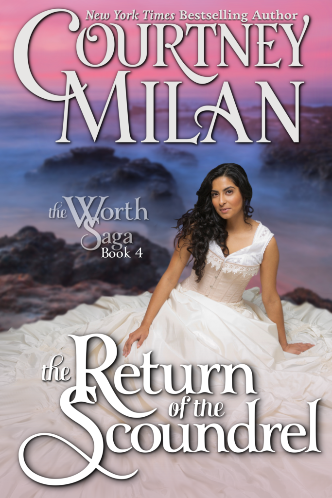 Cover for The Return of the Scoundrel by Courtney Milan: an Indian woman in a frilly white gown looking at the camera with a smile